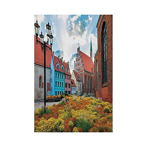 Liumiang Eco-Friendly Manual Custom Garden Flag Demonstration Flag Game Flag,Victorian Decor,Old City Riga Latvia Capital with Historical Buildings Medieval Town Image Decorative,Multicoloro décor -