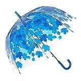 Durchsichtiger Regenschirm von TOSOAR® Transparente Hochzeitsfeier Kuppel-Förmigen Lampenschirm Pilz Umbrella Blase romantische Kirschblüten Maple klar Regen Regenschirm halb-Automatik (blau)