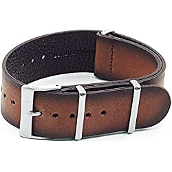 DASSARI Marquis NATO Watch Strap in Vintage Hand Finished Vintage Italian Leather Brown 18mm