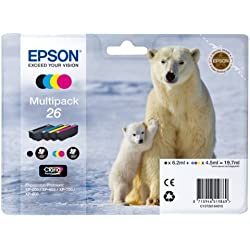 Encre d'origine EPSON Multipack Ours polaire T2616 : cartouches Noir, Cyan, Magenta, Jaune Amazon Dash Replenishment est prêt