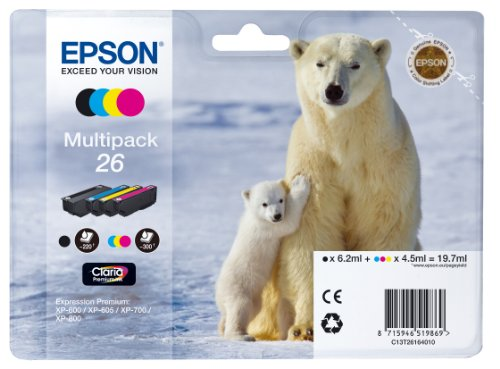 Epson Original T2616 Tintenpatrone Eisbär, Multipack 4-farbig