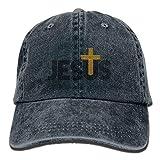 Bixungan Jesus Christian Cross Denim Hat Adjustable Mens Baseball Hats