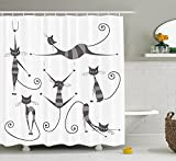 LZHsunni88 Cat Shower Curtain, Furry Skinny Striped Cats in Several Funny Body Postures Whiskers Feline Paws Art Image, Fabric Bathroom Decor Set with Hooks, 75 inches Long, Dimgray