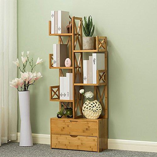 Bücherregal Baumförmige Bambus Multilayer Steh Lagerung Student Wohnzimmer Studie Schlafzimmer Blumenständer (Farbe : 6-tier, größe : 70cm) 6-tier-bücherregal