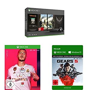 Microsoft Xbox One X 1TB, schwarz – The Division 2 Bundle + FIFA 20 + Gears 5