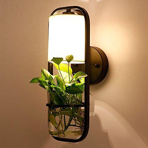Mode Eisen Wandleuchte, Nordic LED Glas Tuch dekorative Wand hängende Lampe postmodernen Schlafzimmer Studie Esszimmer Wandleuchte moderne, minimalistische Wohnzimmer Cafe Flur Wandleuchte -