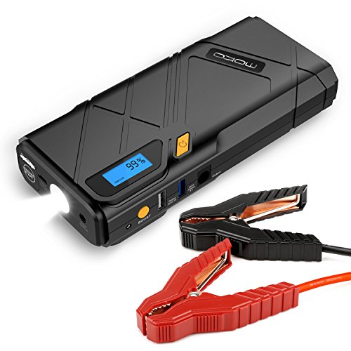MoKo 1200A Peak Car Jump Starter, 12000mAh Portable Power Bank Battery Booster (Up to 6.5L Gas, 3.5L Diesel Engine), with 2 USB Ports, Car Charger, Emergency LED Flashlight (Yellow) (Starter Jump Bolt)