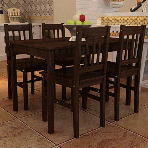 vidaXL Tavolo con 4 sedie in Legno Marrone