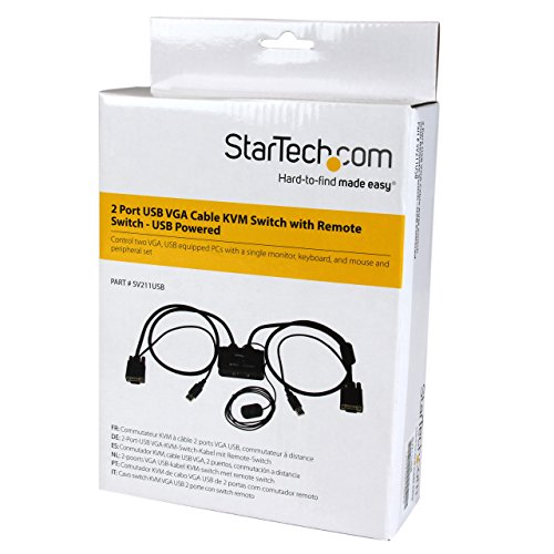 StarTech 2 Port VGA USB KVM Switch Kabel - VGA KVM Umschalter USB Powered mit Fernumschaltung