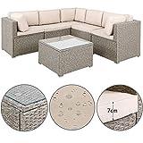 Canapé Lounge 20 pièces Gris - Beige Coussin Table Plateau Verre Meuble Salon de Jardin mobilier de Jardin intérieur extérieur