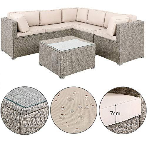 Deuba Poly Rattan Lounge Set Extra Dicke Auflagen & Kissen Tisch Glasplatte Grau Beige Sitzgruppe Sofa Garten Möbel