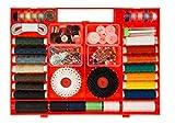 TSI 81901 Kurzwaren-Box, Diverse, rot, 24 x 18 x 2,5 cm