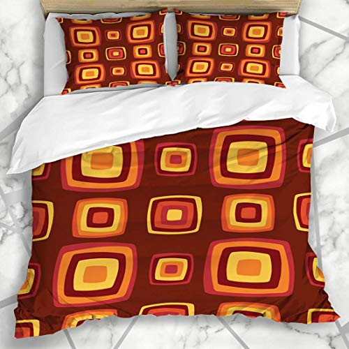 Soefipok Bettbezug-Sets Einfache 70er Jahre geometrische Vintage-Muster Funky Möbel Retro-Design Mikrofaser-Bettwäsche mit 2 Kissenbezügen