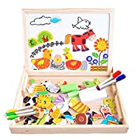 FiveJoy Wooden Magnetic Jigsaw Puzzles, Double Sided Blackboard Whiteboard with Wooden Box, Early Educational Toy for Kids Age 3+ (Farm Pattern)