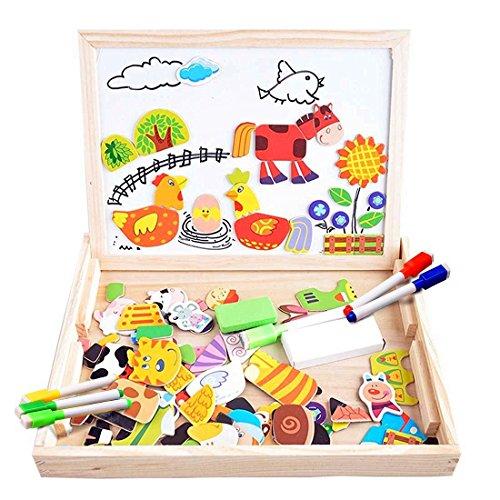 COOLJOY Puzzles Rompecabezas Magnéticos de Madera Juguete Educativo Tablero de Dibujo de Doble Cara para Niños Niña 3 Años 4 Años 5 Años - Acerca de 100 Piezas (Granja)