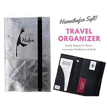 SYLT Reise Etui | Travel Organizer | Silber Washable Paper | Reise Dokumente | Dokumentenmappe | Traveller | Reisehülle | Reisepass | Mappe | Sappap | Geschenkidee