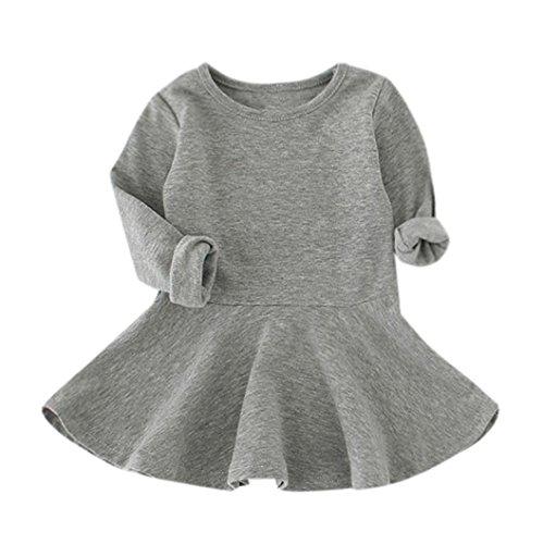 Babykleidung Hirolan Neugeborene Kleidung Mädchen Süßigkeiten Farbe Lange  Hülse Solide Prinzessin Beiläufig Kleinkind Kinder Kleid ( f00a755845