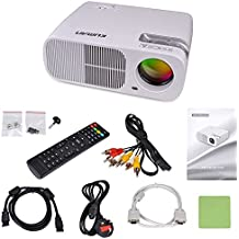 Kuman HD Proyector LED WIFI Mini Cine en Casa Multimedia 3D 2600 Lúmenes, 1280x800 ResoluciónUSB VGA HDMI AV con Control Remoto de Ventilador Incorporado con para Familia Blanco H2