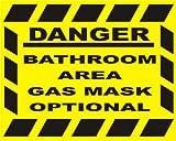 Vorsicht Badezimmer Gas Mask Optional Wandtattoo/Fliesenaufkleber Gelb Hintergrund, schwarzer text Größe ca. 7,5 x 13.97 cm