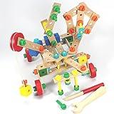 KONSTRUKTIONSSET TECHNIK BAUSTEINE 135 Teile 3-7 Jahre Holzbausteine Konstruktionsbausteine Holz yx 135 1685