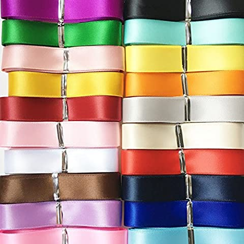 Chenkou Craft 20Yards Double Sided Face Polyester Satin Ribbon Ribbons Assorted of 20 Colors 3/8