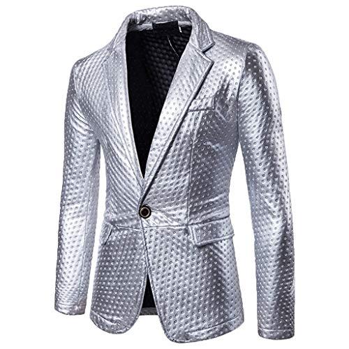friendGG Herren Mode Selbstkultivierung Und Bright Faced Suit Pure Color Coat Anzug Party KostüM Modisch Normaler Schnitt Festliche AnzüGe Party Suits Einfarbig Tops Bluse Shirt T-Shirt