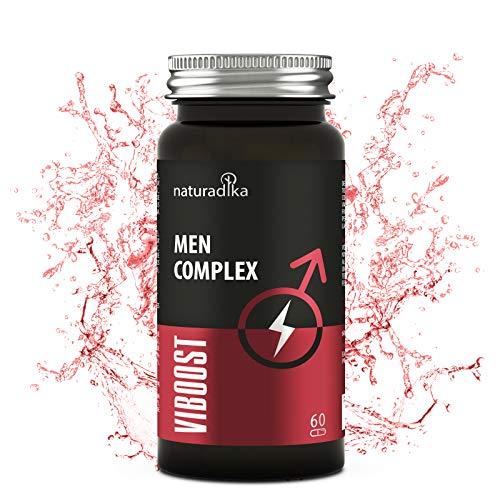 viboost MEN COMPLEX · Pastillas con Maca, Arginina, Ginseng, Tribulus Terrestris y Zinc · Potencia y Duración Máxima para hombre · Caspulas Booster de testosterona pura · biagra - mente bueno