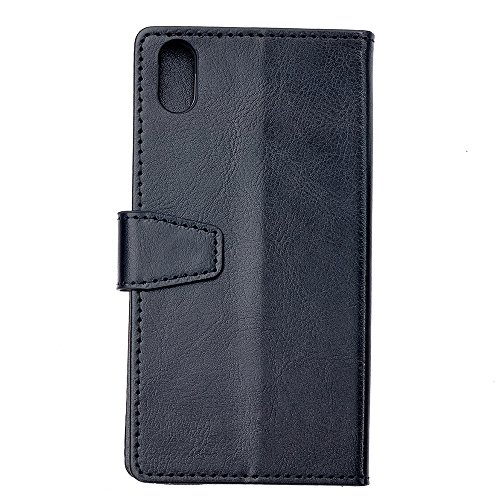 iPhone X Hülle, MOONMINI PU Leder Handycover Brieftasche Kartensteckplätze klapptasche Case Etui Flip Cover Schutzhülle im Bookstyle mit Stand Funktion und Magnetverschluss für iPhone X Lila Schwarz