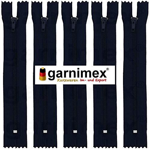garnimex Reißverschluss 20 cm x 5 Stück Farbe 23 dunkelblau Sortiert Nicht teilbar (12-reißverschluss-blau)