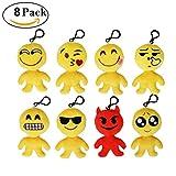 Emoji Keychain Cute Emoji Cuscini Peluche Emoticon Portachiavi Soft Toy Party, 8 pacchetti