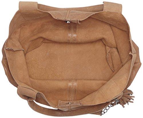 CTM Damen Schultertasche mit Griffen Semi-gloss, 39x36x20cm, 100% echtes Leder Made in Italy Grau (Fango)