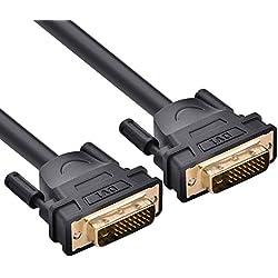 Cable DVI, UGREEN Cable DVI-D (24+1) Dual Link Vídeo Digital 3 Metro Macho a Macho Soporta Resoluciones de 2560 x 1600 para Videoconsolas, DVD, Portátiles, HDTV y Proyectores (2 METRO)