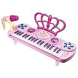 Klavier für Kinder, 37 Tasten Kinder Keyboard mit Mikrofon Spielzeug Klavier Keyboard Spielzeug Multi-Funktion Keyboard für Kinder Beginner-Keyboard für Kleinkinder, Pink mit Pult