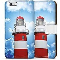 Apple iPhone 6 Tasche Leder Flip Case Hülle Leuchtturm Himmel Wolken