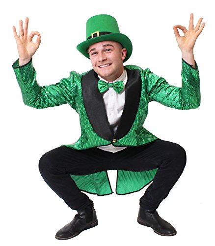 ILOVEFANCYDRESS GRÜNES Leprechaun KOSTÜM VERKLEIDUNG=Zylinder MIT Schnalle+GRÜNER Pailetten Frack+RIESEN GRÜNE Fliege=Kobold ODER IRISCHER GLÜCKSBRINGER ODER AN ST.Patricks Day = (Das Kobold Halloween Kostüm)