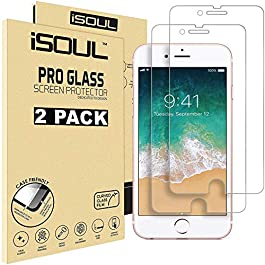 [2 Pack] Screen Protector for Apple iPhone 6 / 6S Tempered Glass Film 9h HD iSOUL, 0.26mm Premium Shatterproof Protection 4.7″Inch [Easy Installation] [3D Touch] [Bubblefree] [Compatible iPhone 7/8]