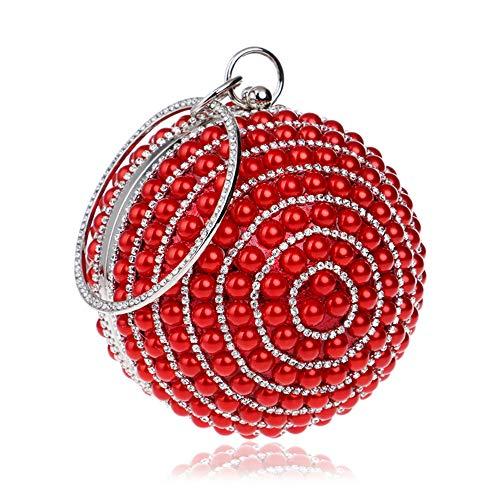 HappyTop, Damen Clutch Rot rot 9 * 25.5 * 12.5cm (Metall-stollen, Billig)