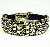 Dogs Kingdom 3Reihen Silber Nieten Nieten Faux Croc Leder Halsbänder Halskette für mittlere/große Hunde Weiß