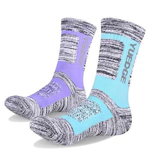 Baumwolle Socken Wandern (YUEDGE Damen Wandern Sport socken für Trekking Camping Radfahren Tennis, Funktionssocken Atmungsaktiv, Hochleistung (L))