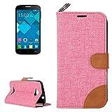Case For Android Phone Protege tu teléfono, Denim Textura Funda de Cuero con Ranuras para Tarjetas y Soporte y Cinta para Alcatel One Touch Pop C7 (Color : Rosa)