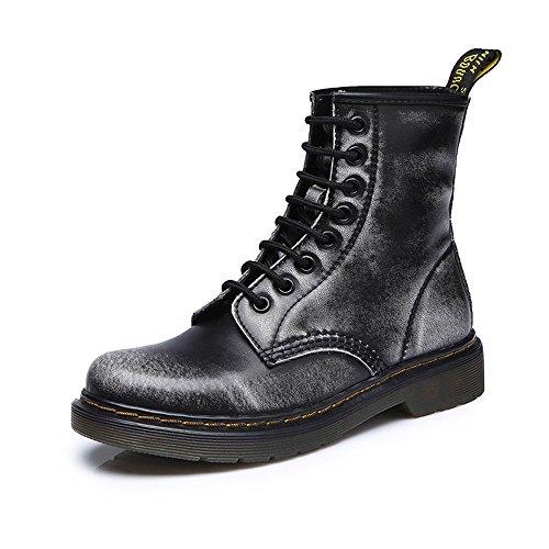 uBeauty Femme Martin Bottes Flattie Sport Boots Chaussures Classiques Bottines À Lacets Gris