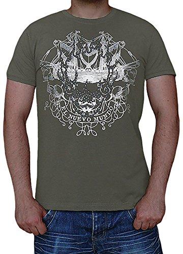 premium Qualität!!! T-Shirt mit einem Silber Print und mit cooler Strassverzierung S&LU Gr.: M-XXL Oliv L (T-shirt Print Bomben)