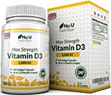 Vitamin D3 3,000 IU 365 Softgels (Full Year Supply) Triple Strength Vitamin D3 Supplement, High Absorption Cholecalciferol, Gluten & Dairy Free by Nu U Nutrition
