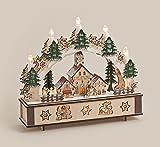 Schwibbogen Fensterdeko Holz LED-Beleuchtung Kerzen Weihnachten Geschenk 31x28