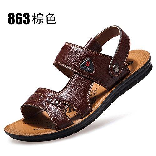 Sandales en cuir des hommes de l'été, les hommes version coréenne occasionnels, les chaussures de plage, Chaussons en cuir, creusé de nouvelles chaussures hommes respirante Dark Brown