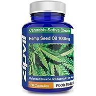 Hemp Oil 1000mg Supplement 180 Softgel Capsules | High Strength Hemp Seed Oil | Source of Omega 3 & 6 - Made in UK