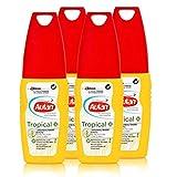 Autan Mückenschutz Tropical Pumpspray 100ml - schützt auch bei hoher Luftfeuchtigkeit und Schweißbildung bis zu 8 Stunden vor Mücken (4er Pack)