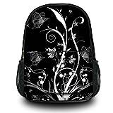 Zaino Sportivo Multifunzionale Luxburg® Design , Motivo : Piante e farfalle bianco e nero