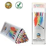 Lapices de Colores Kasimir 48 Lapices Colorear Fijaron con Colores Para Art Major Dibujo Niños Pintura Suministros de Oficina Escuela Adulto para Colorear Libros (Caja de Hierro)
