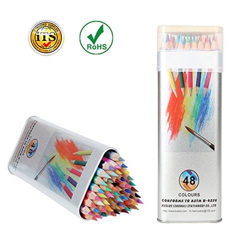 Aquarellstifte Kasimir Buntstifte Set mit Dreieckigen Zinn Box für Kinder Erwachsenen Künstler Erwachsenen Malbuch Malen Nach Zahlen  (48 Stück Keine Duplikate)
